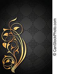 floral, doré, noir, motifs