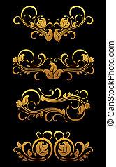 floral, dorado, elementos, vendimia