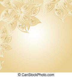 floral, dorado, ornamento, plano de fondo