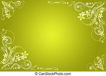 floral, dorado, verde, blanco