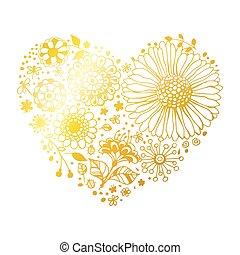 floral, dourado, coração