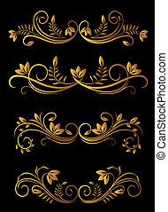 floral, dourado, elementos