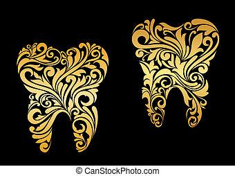 floral, dourado, estilo, dente