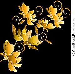 floral, dourado, experiência preta, grupo