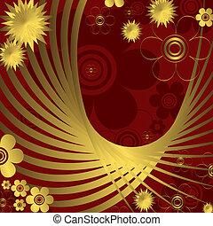 floral, dourado, experiência vermelha