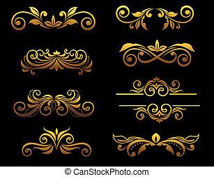 floral, dourado, fronteiras, elementos, vindima