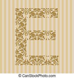 floral, e, font., lettre