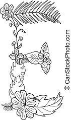 floral, e, ornement, lettre