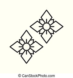 floral earring, jewelry related, outline vector icon