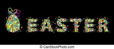 Floral easter egg on black for your design