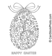 Floral easter egg on white background. Coloring page for children and adult. Vector illustration.