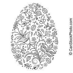 Floral easter egg on white background. Vector illustration. Coloring page for children and adult.