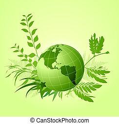floral, ecológico, fondo verde