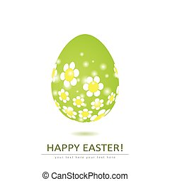 Floral egg shape isolated on white background