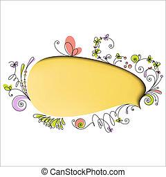 floral, el, bulle discours, jaune