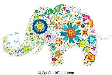 floral, elefant