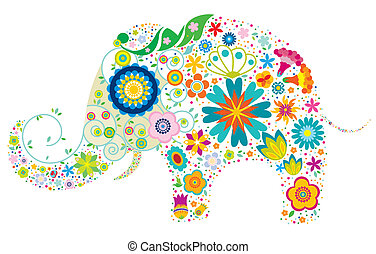 floral, elefante