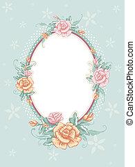 floral, elegancia, marco, andrajoso