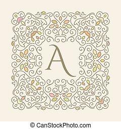 floral, elegant, frame, luxe, varicolored
