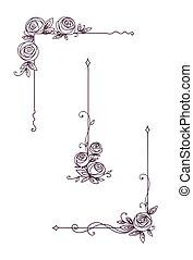Floral elegant patterns black and white. Cover page design. Vintage elements for decor line art. Rose flower outline