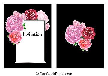 Floral elegant roses invitation