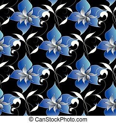 Floral elegant seamless pattern. Vector black background wallpap