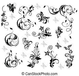 floral, elegante, desenho