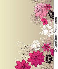 floral, elegante, fondo rosa, luz