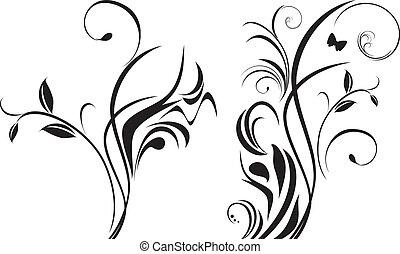 floral elem, tervezés, két