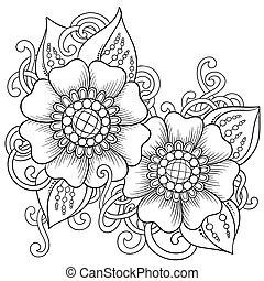 Floral element for card. Hand drawn artwork with abstract...