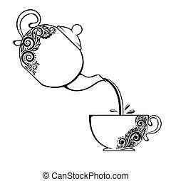 floral, element., théière, contour, tasse
