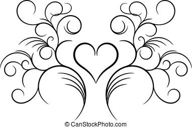 Floral element with Valentine heart