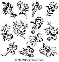 floral, elemento, conjunto