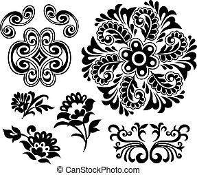 floral, elemento, desenho