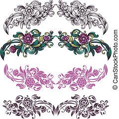 floral, elementos, diseño