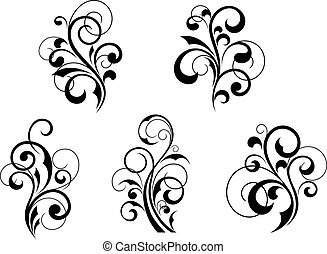 Floral elements and motifs - Set of beautiful floral ...