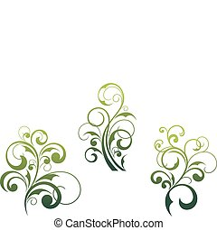 Set of beautiful floral elements and motifs isolated on white