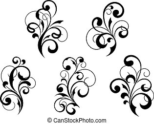 Floral elements and vignettes