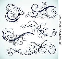 floral elements - Vector illustration set of swirling...