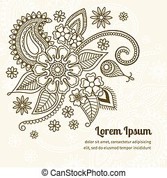 Floral elements in mehndi indian style