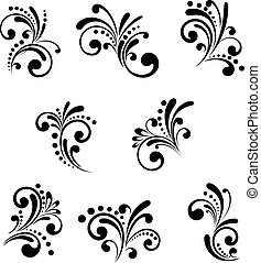 Floral elements - Set of beautiful floral elements isolated ...