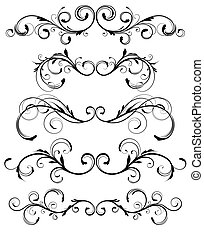 floral elements - Vector set of floral decorative ornament ...