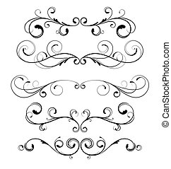 floral elements - Vector set of floral decorative ornament ...