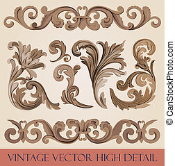 Vintage floral design elements collection. Luxury Vector.