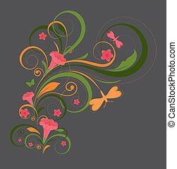 Floral Elements with Butterfly