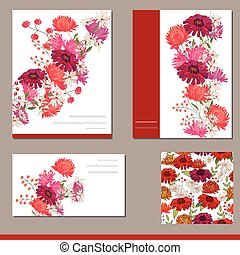 Floral elements with gerberas and asters