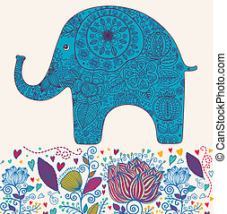 Floral elephant - Holiday card with elephant