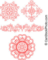 floral, embleem, ontwerp