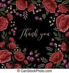 Floral Embroidery Frame Background Design