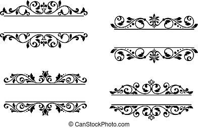 floral, en-tête, cadre, éléments, retro